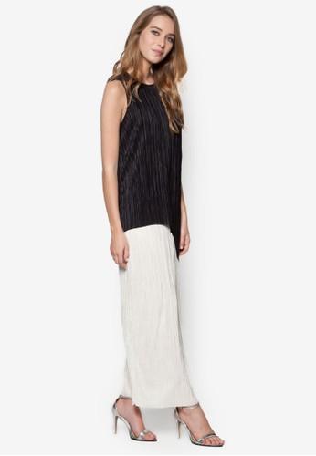 Plisse 色塊褶飾長zalora 心得洋裝, 服飾, 長洋裝