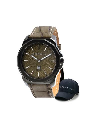 Perry Ellis brown Perry Ellis Decagon Men 46mm Quartz Watch 05008-01 with Perry Ellis Cap 599A9AC8A293DCGS_1