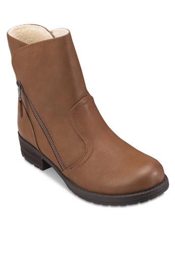 Arosiesprit 台灣en 斜拉鍊仿皮短靴, 女鞋, 鞋
