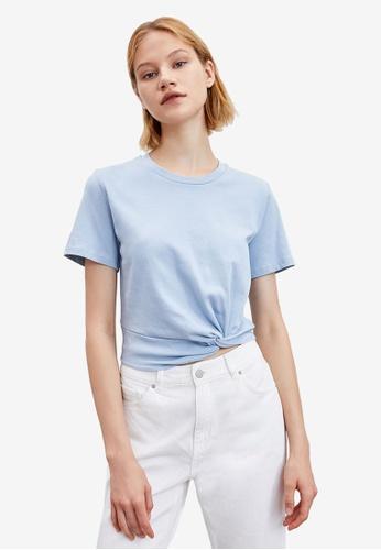 URBAN REVIVO blue Twist Hem T-Shirt 77C82AA4C5BBA6GS_1