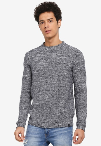 Jack & Jones blue Toby Knit Crew Neck Jumper 5ACB1AAD034A0EGS_1
