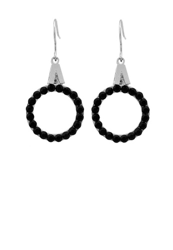 Glamorousky black Trendy Round Earrings with Black Austrian Element Crystal E047AACF4CED74GS_1