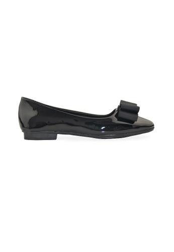 SHINE black Ribbon Square Toe Low Heels SH554SH33GFUSG_1