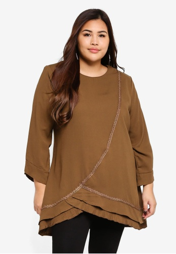 BYN brown Plus Size Muslimah Blouse F0104AA1CF636AGS_1