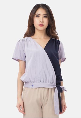 MKY Clothing blue MKY Two Tone Kimono Blouse 1F4B6AA3477E72GS_1