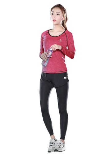 B-Code red ZYG5134-Lady Quick Drying Running Fitness Yoga Sports Top and Leggings with Shorts-Red 8EDB0AADBCFEC8GS_1