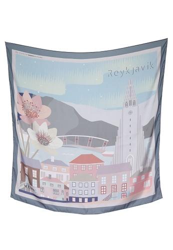Modest-Runway Inc. grey and multi ALLURA My Favorite City Reykjavik COTTON Scarf/Hijab 70BD1AAAE555FCGS_1