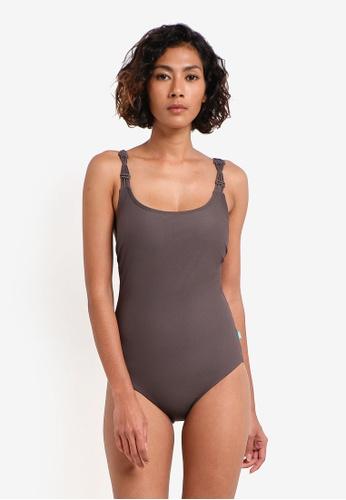 Piha brown Textured Solid Macrame Swimsuit PI734US0RU2JMY_1