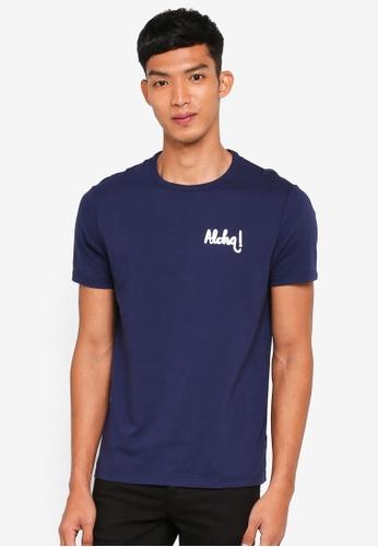 Burton Menswear London 海軍藍色 短袖印花T恤 B2A61AA337502EGS_1