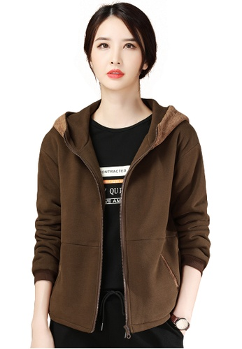 A-IN GIRLS brown Corduroy Stitching Hooded Plus Fleece Jacket 51589AA76177E0GS_1