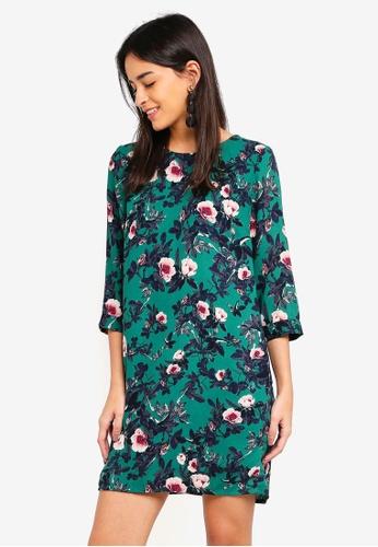 Vero Moda green Gabby 3/4 Printed Short Dress 308F5AA1F3F4F7GS_1