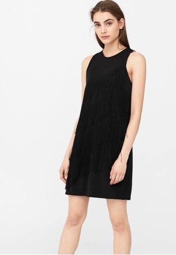 Mango black Flowy Fringed Dress MA193AA02CCVMY_1