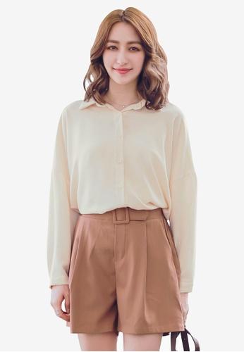 YOCO beige Buttoned Shirt and Camisole Set F0E6BAA3FD004CGS_1