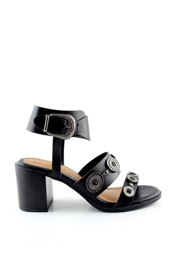 London Rag black Sally Block heel Sandals with silver Trims 2BB72SH84C7C4CGS_1