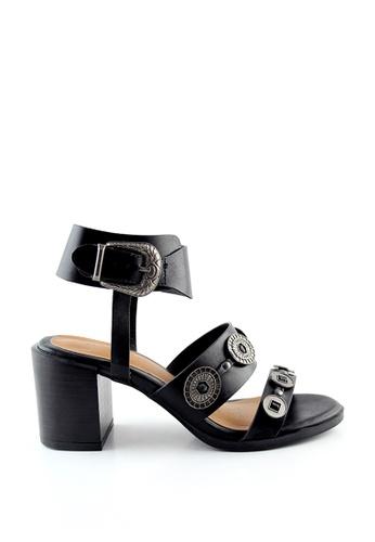 London Rag black Sally Block heel Sandals with silver Trims SH1413 2BB72SH84C7C4CGS_1