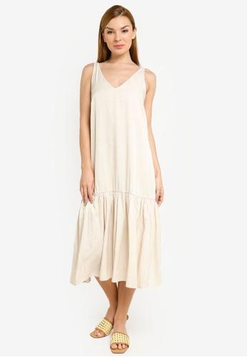 H&M beige V-Neck Dress EFE5DAA11D73A9GS_1