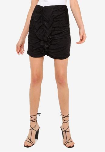 URBAN REVIVO black Ruched Skirt F7516AAC72F7ADGS_1