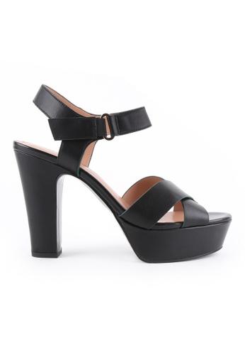 Joy & Peace black Strappy Platform Heeled Sandals JO458SH84JLZHK_1