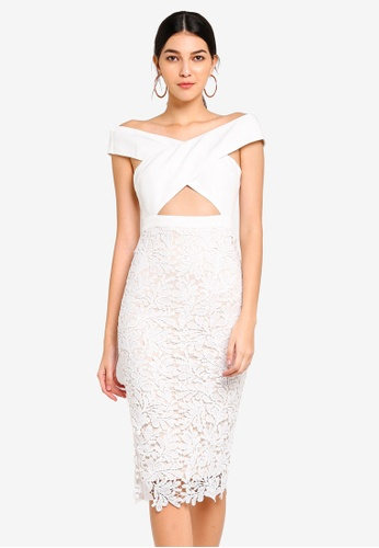 MISSGUIDED white Crepe Bardot Lace Midi Dress DCB57AAEF38CEBGS_1