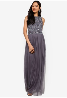 3b76757a1d0 Lace   Beads grey Hemingway Embellished Sleeveless Maxi Dress  06812AA0696930GS 1
