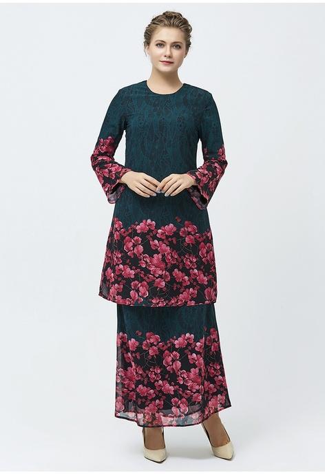 Era Maya Floraison Emerald Green Lace Prints Baju Kurung Chiffon