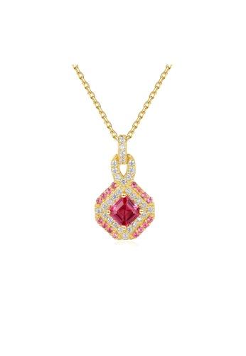 SUNRAIS gold High quality Silver S925 golden diamond necklace F9E15ACAC8C3A4GS_1