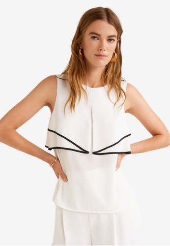 Mango white Contrast Trim Top ADD18AAA2EA36AGS_1