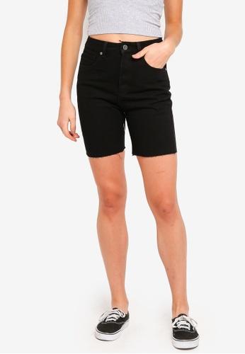 Factorie black Long Cut Off Denim Shorts 2BB65AA3A9DC74GS_1