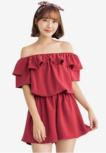 Tokichoi red Off Shoulder Flounce Neck Romper 60F83AA8BD95A5GS_1