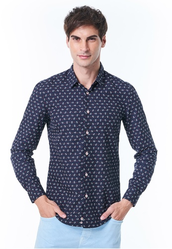 United Colors of Benetton blue Slim Fit Cardigan with Allover Pattern C43CCAA8B93E6AGS_1