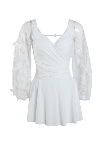 Its Me white Elegant Gauze Flower One-Piece Swimsuit D8301US3E6D46EGS_1