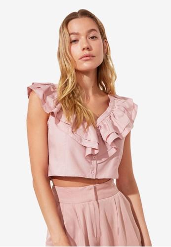 Trendyol pink Ruffle Collar Detail Top F5102AA6D8932BGS_1