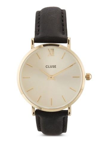 Minuiesprit手錶專櫃t 皮革圓框手錶, 錶類, 飾品配件