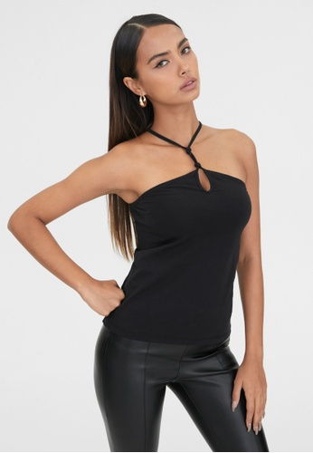Pomelo black Sustainable Cut Out Halter Neck Top - Black 0EE84AA60FCA6AGS_1