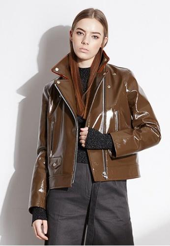 Workwear brown Brown Leather Jacket WO056AA31FJSSG_1