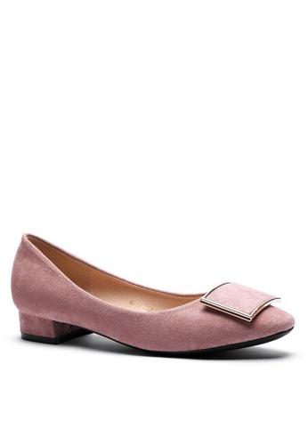 Twenty Eight Shoes 方頭方扣絨面高踭鞋1205-53 4A264SHD940D6EGS_1