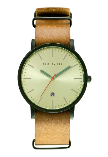 TED BAKER brown Ted Baker Ensorr - Tan/Green Leather Watch TE856AC42JJLSG_1