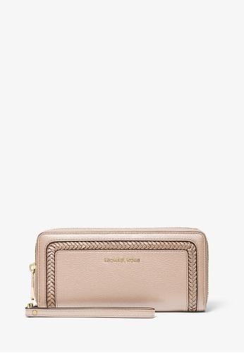 MICHAEL KORS pink Michael Kors Lexington Large Pebbled Leather Continental Wallet - Soft Pink 13C11AC818F88BGS_1
