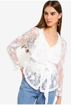 4bb20d8003d French Connection white Elayna Lace Waterfall Jacket E4044AAE1D836CGS 1
