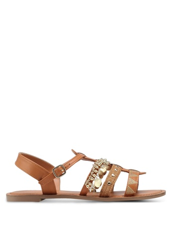 VINCCI brown Strappy Sandals E3825SHBE47836GS_1