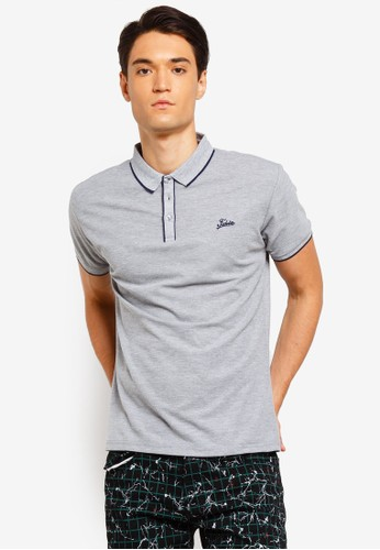 Fidelio grey Collar Lining Basic Polo Shirt 2B9D9AA6AD9DD8GS_1