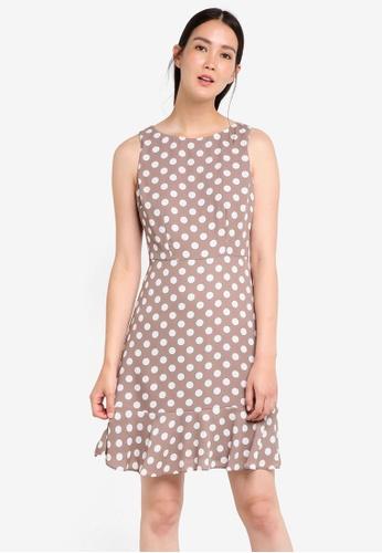 Wallis beige Petite Taupe Polka Dot Flute Hem Dress WA800AA64DUPMY_1