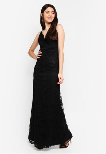 Goddiva black Scallop Maxi Dress A0804AAF08A7EBGS_1
