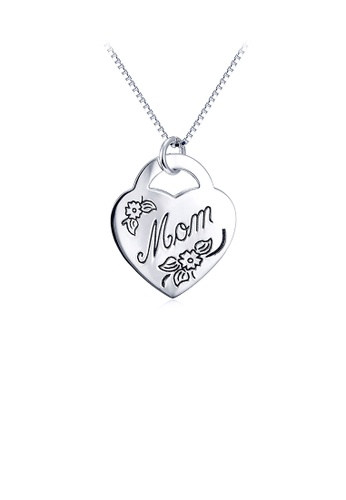 Glamorousky silver 925 Sterling Silver Fashion Simple Mom Heart Pendant with Necklace F828AACC28C227GS_1