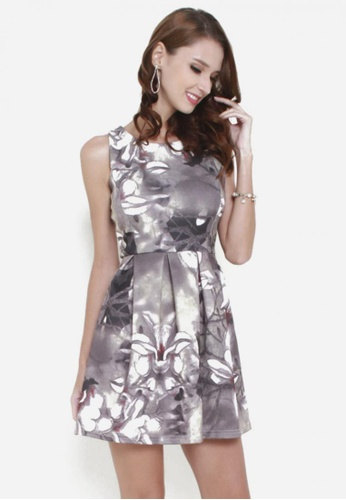 Sophialuv grey Rosy Posy Fit & Flare Dress in Grey Florals 17C44AA1AEE133GS_1