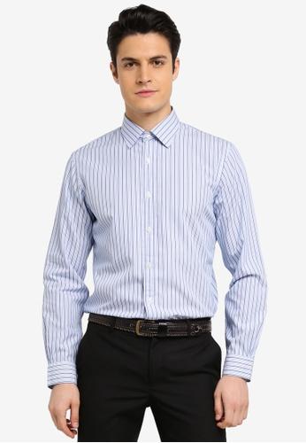Brooks Brothers 白色 條紋長袖襯衫 7D642AA9FED5D1GS_1