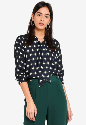 Dorothy Perkins multi Petite Multi Coloured Geometric Print Pussybow Blouse DE144AAD8B4163GS_1