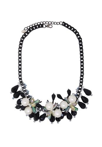 Jaysa Collection black Designer Matt Black Pearl Necklace with Ghost Crystal Shards JA875AC12CGPSG_1