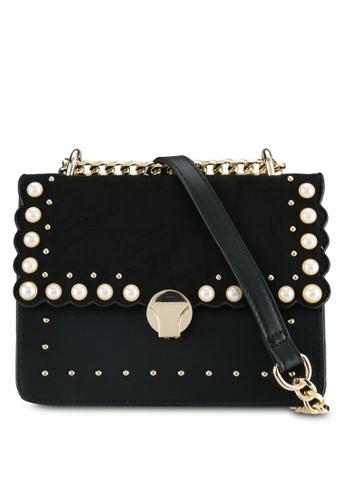 TOPSHOP black Kelly Pearl Stud Cross Body Bag TO412AC0SHI5MY_1