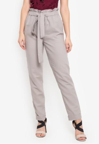 Fatima Beltran Clothing Line grey Paperbag Waist Pants 28A8CAAE59FBFCGS_1
